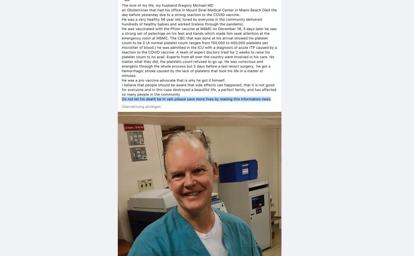 Witwe eines 56-jährigen Opfers des Impfstoffs: »Verbreitet dieseNachricht!«