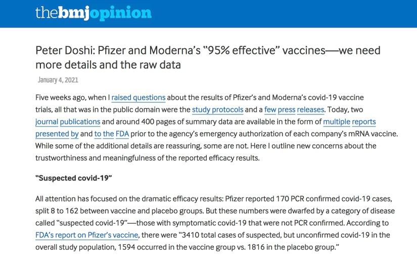 '95% Wirksamkeit' der Impfstoffe? Mehr Details und die Rohdatenoffenlegen!